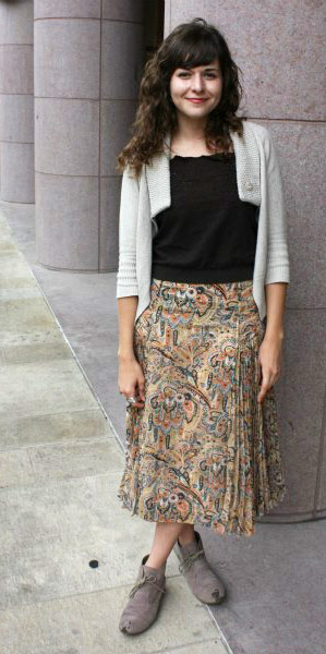 Fashionable student street style at the University of Texas at Austin: Maxi skirt, cardigan, boho bag, unique jewelry