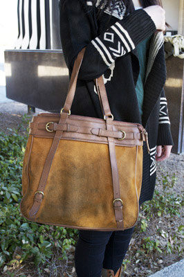UNLV fashion - suede and leather bag