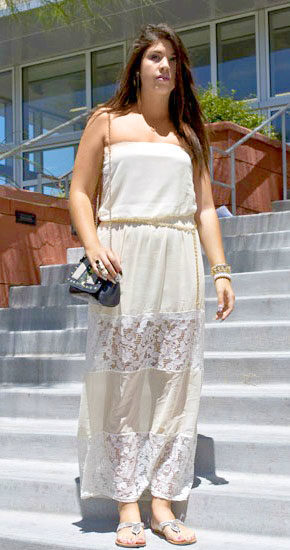 UNLV student street style - student fashionista wearing a lace dress, sandals, and bohemian jewelry