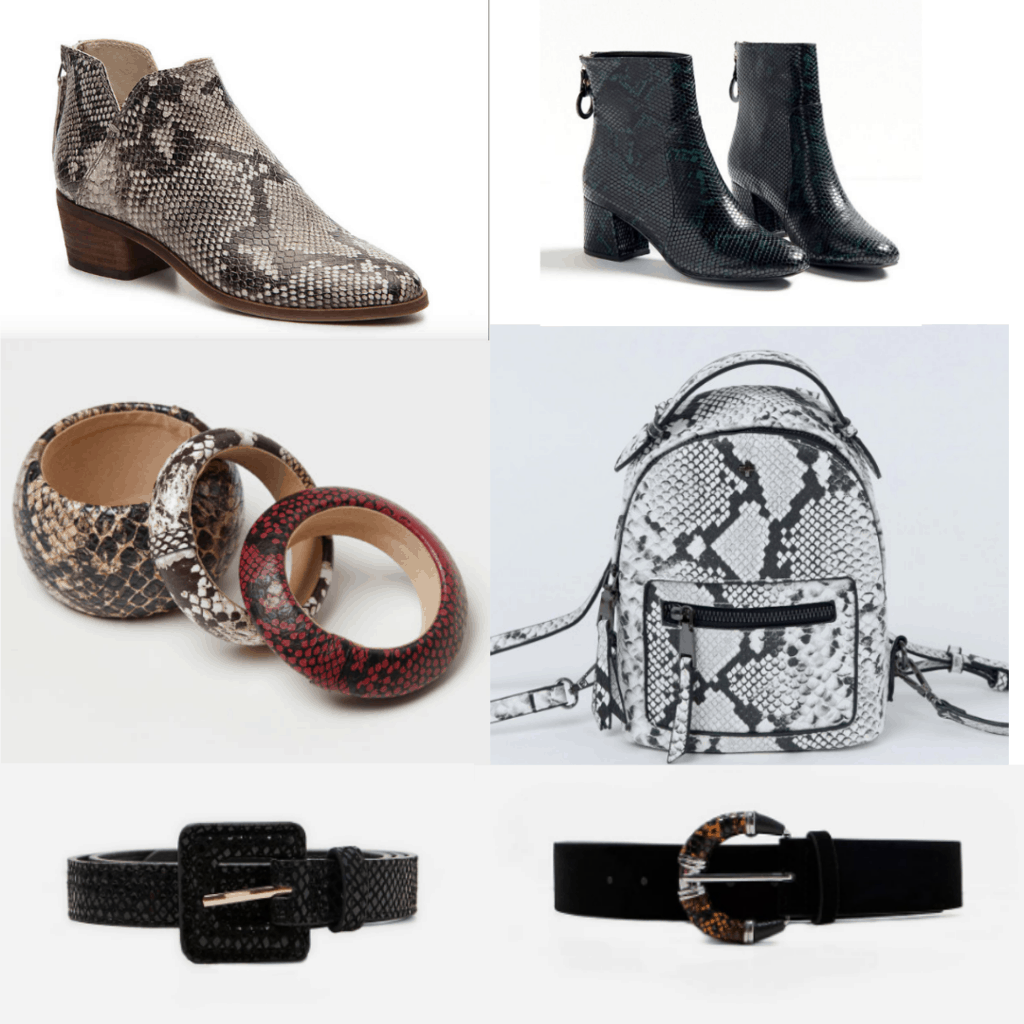 Snakeskin print accessories for 2019: Snakeskin print boots, bangles, mini backpack, belts