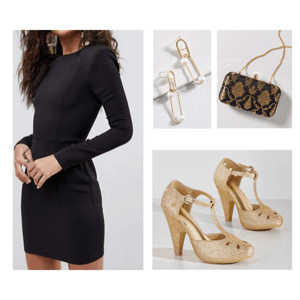 1940s decades party outfit: Black dress, t strap heels, paper clip earrings, brocade purse in gold