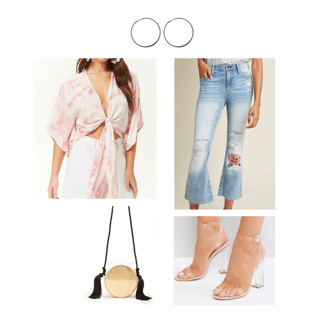1970s decades party outfit: Ripped jeans, tie front shirt, perspex heels, tassel bag