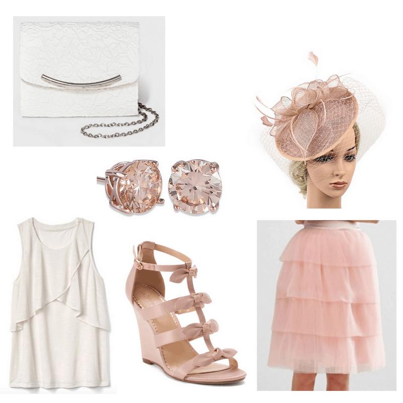 Pink skirt, heels, earrings, fascinator, white top and clutch bag.