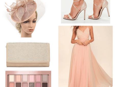 Pink maxi dress, heels, clutch fascinator and eye shadow.