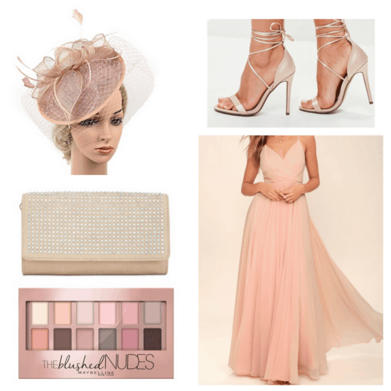 Pink maxi dress, heels, clutch fascinator and eye shadow.