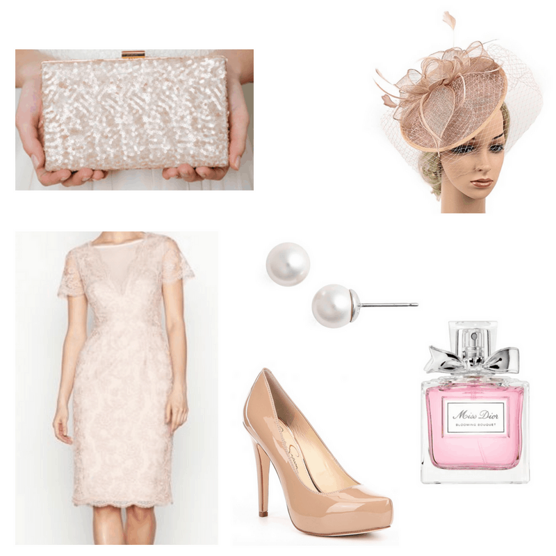 Lace pink dress, sequin clutch, pink fascinator, nude pumps, pearl earrings and miss dior perfume.