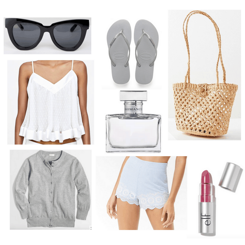 White top, blue shorts, gray cardigan, straw bag, black sunglasses, gray flip flops, lipstick and perfume.
