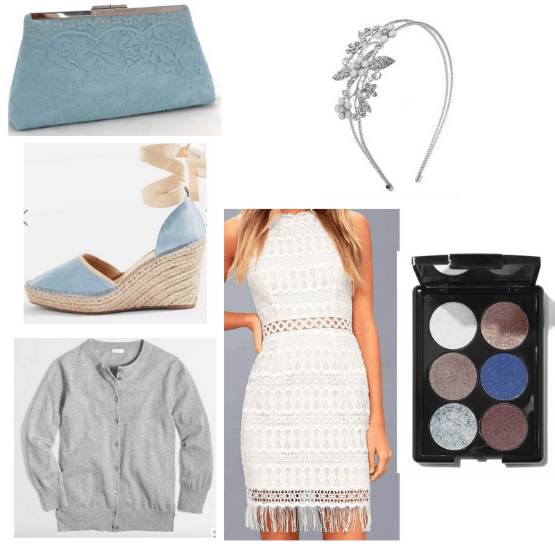 White dress, blue wedges, blue clutch, jeweled headband, blue eyeshadow palette and gray cardigan.