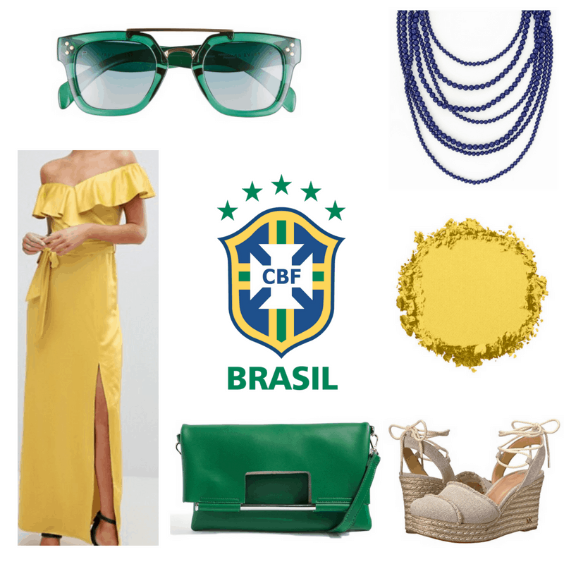Yellow maxi dress and eyeshadow, green clutch and sunglasses, blue necklace and espadrilles