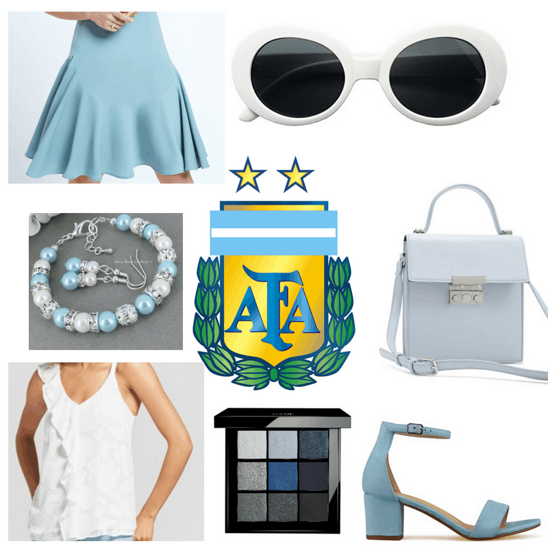 Light blue skirt, bag, bracelet, heels and makeup palette, white top and sunglasses.