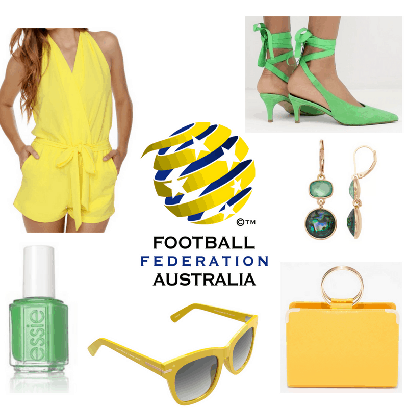 Yellow romper, sunglasses and bag, green shoes, nail polish and earrings