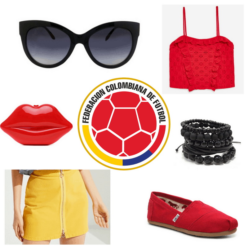 Yellow skirt, red top, clutch and shoes, black sunglasses and bracelet.