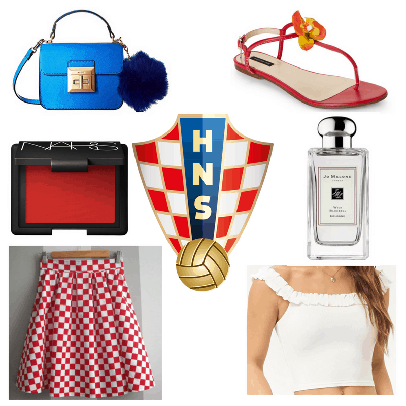 Red and white skirt, red blush and sandals, white top and perfume, blue bag.