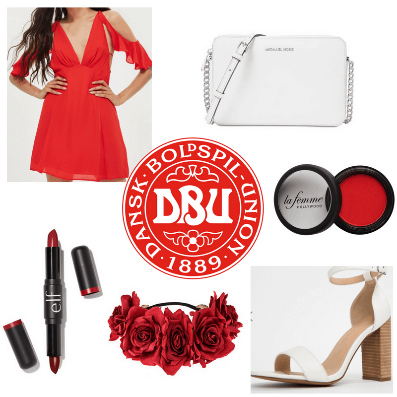 Red dress, eyeshadow, lipstick and headband, white bag and heels.