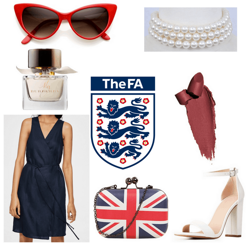 Red sunglasses and lipstick, blue dress, white heels, pearls and perfume and British flag clutch.