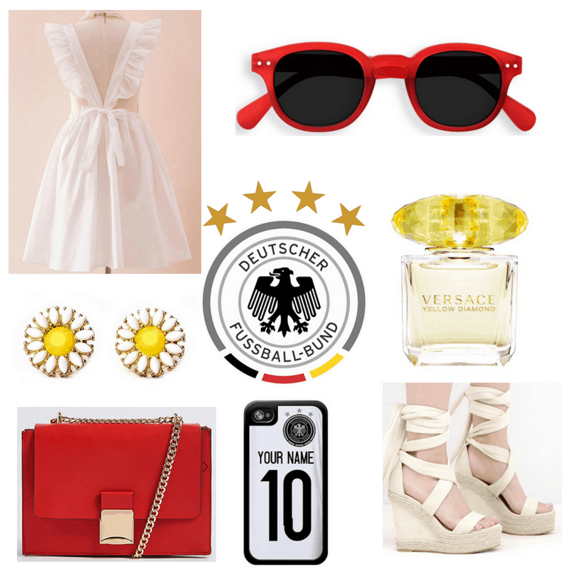 White dress, phone case and espadrilles, yellow perfume and earrings, red bag and sunglasses.