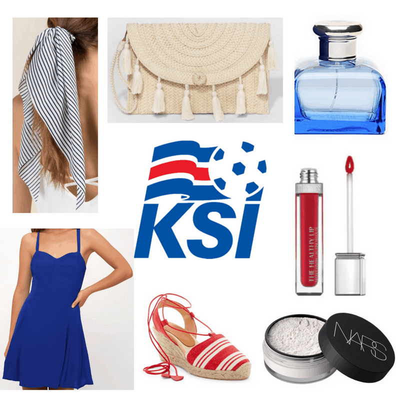 Blue dress, hair ribbon and perfume, red espadrilles and lipgloss, straw clutch and white powder.