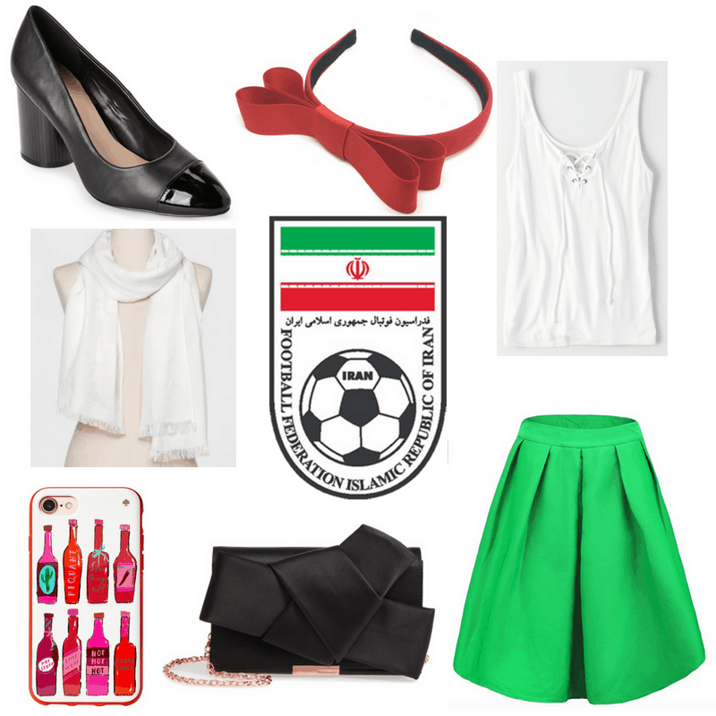 Green skirt, white top and scarf, black clutch and heels, red phone case and headband.