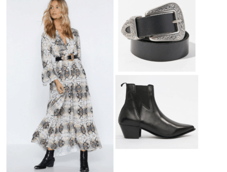 Snakeskin print dress outfit with western belt and low heel black ankle booties