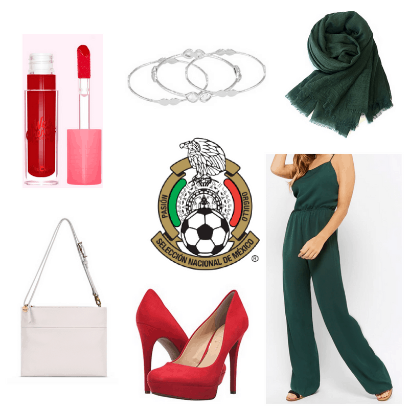 Green jumpsuit and scarf, red heels and lipgloss, white bag, silver bracelet.