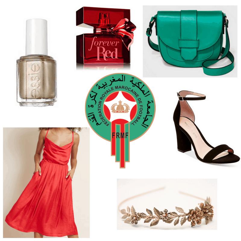 Red dress and perfume, green bag, black heels, gold nail polish and headband.