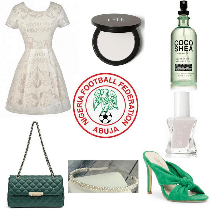 White dress, headband, nail polish and setting powder, green heels, bag and perfume.