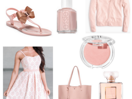 Pink dress, cardigan, sandals, blush, nail polish, bag and perfume.