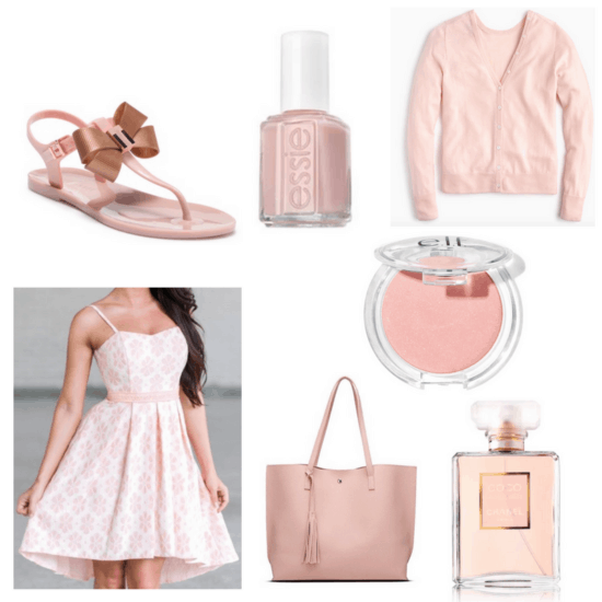Pink dress, cardigan, sandals, blush, nail polish, bag and perfume.
