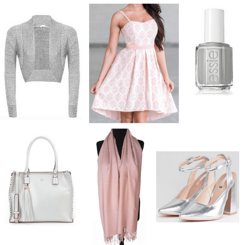 Pink dress and shawl, silver nail polish, heels, bag and cardigan.