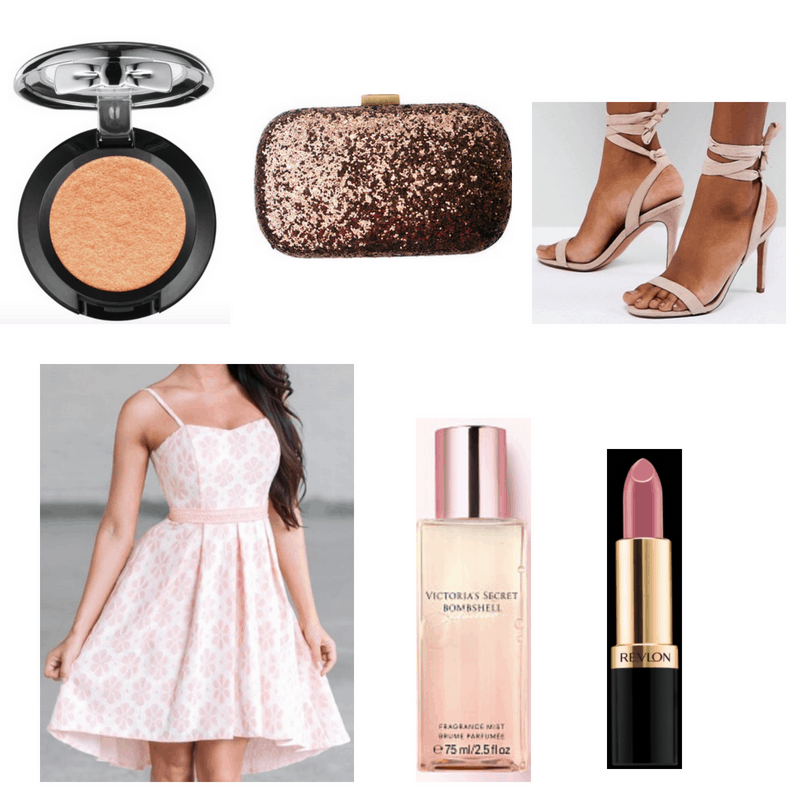 Pink dress, perfume, heels and lipstick, gold eyeshadow and clutch.
