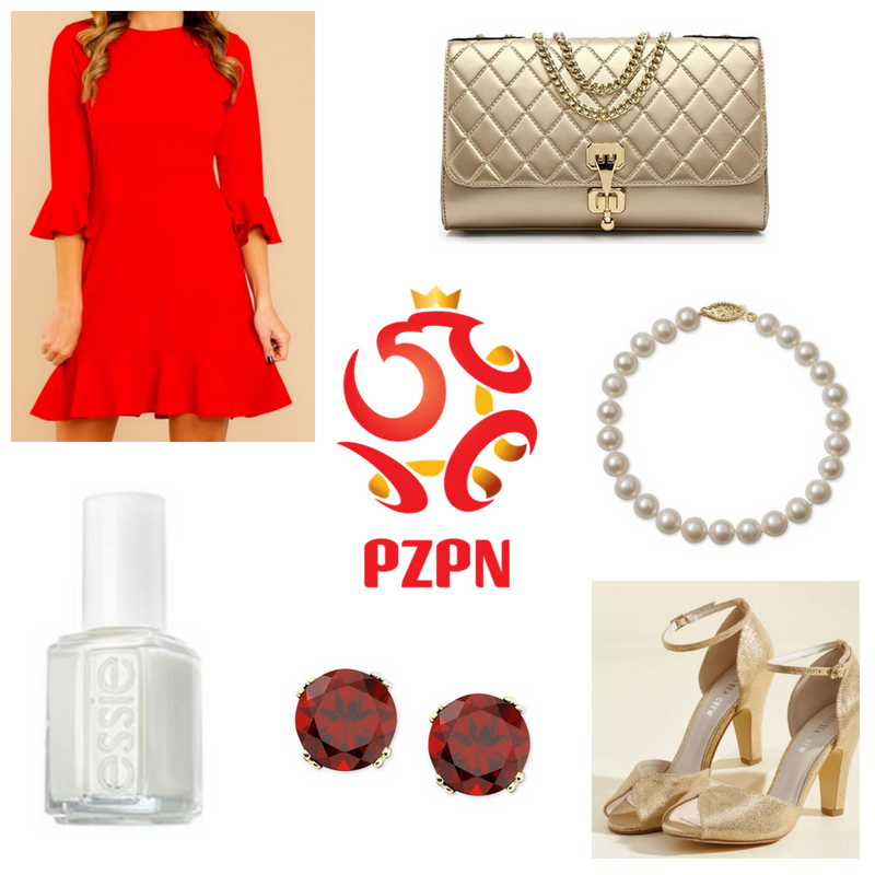 Red dress and earrings, white nail polish and bracelet, gold bag and heels.