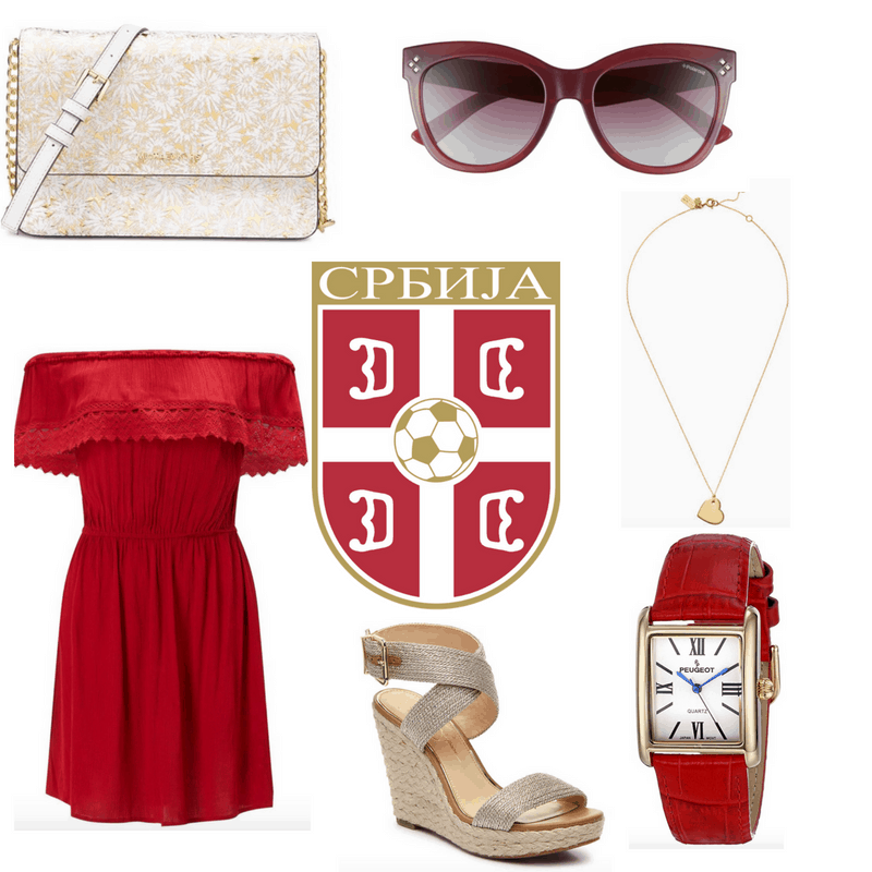 Red dress, watch and sunglasses, gold bag, necklace and heels.