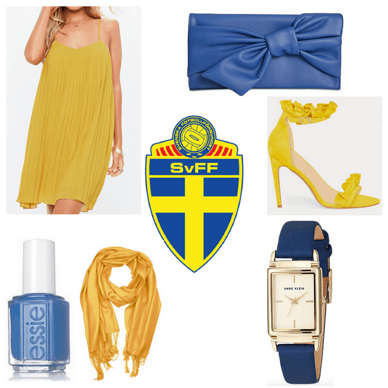 Yellow dress, shawl and heels. Blue clutch, watch and nail polish.