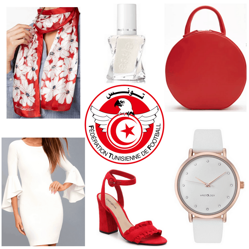 Red scarf, bag and heels, white watch, dress and nail polish.