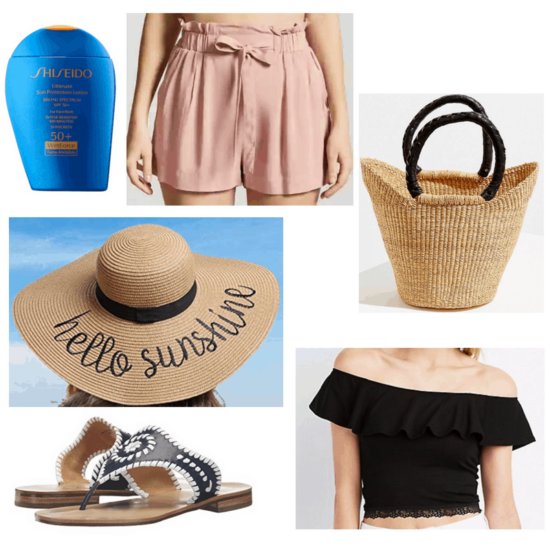 Straw bag and hat, black top, mauve shorts, foundation and sandals.