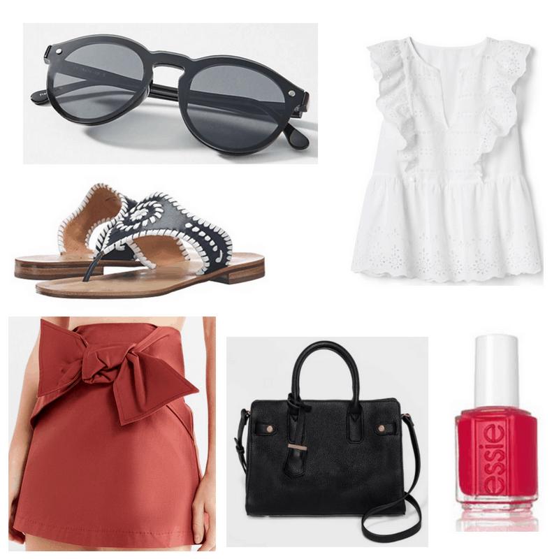 Red skirt and nail polish, white top, black handbag, sunglasses and sandals.