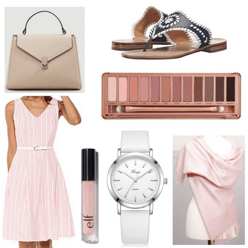Pink dress, shawl, lipgloss and eyeshadow palette, nude bag, black sandals and white watch.