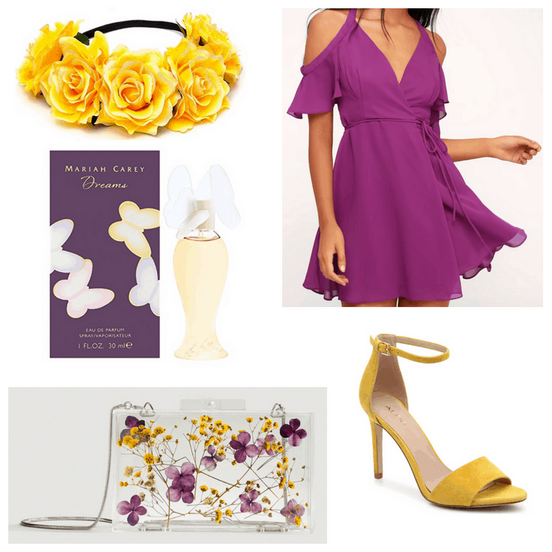 Purple dress, yellow heels and headband and floral clutch and perfume.