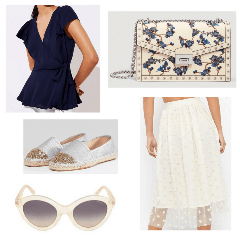 Ivory skirt and sunglasses, navy blouse, silver espadrilles and ivory and floral bag.