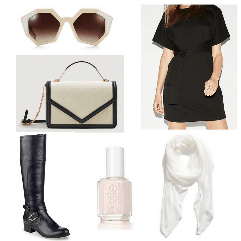 Black and white bag, black dress and boots, white sunglasses, nail polish and scarf.