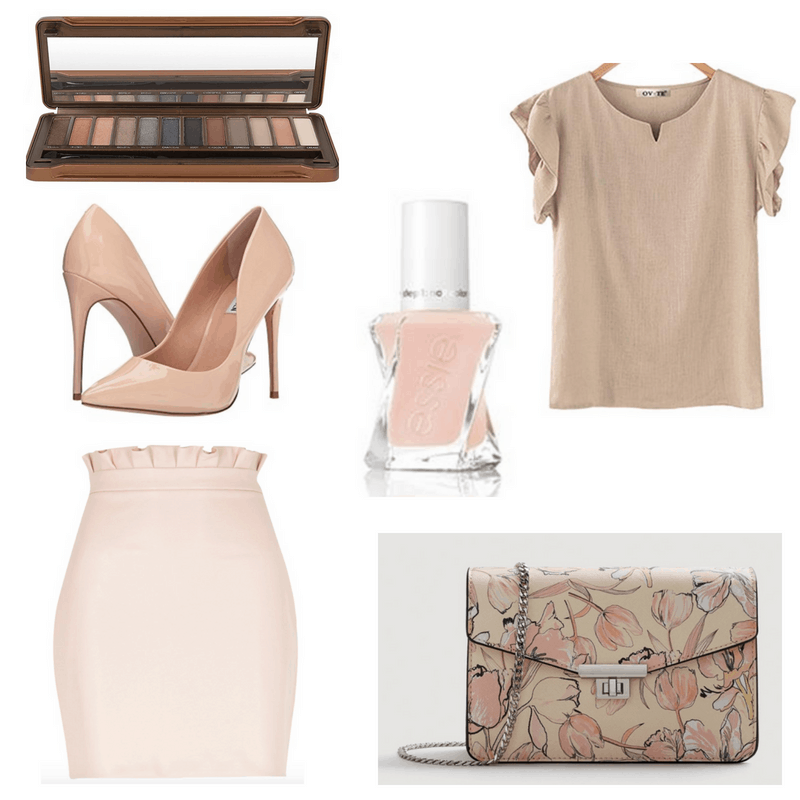 Pink and beige skirt, top, bag, nail polish, heels and eyeshadow palette.
