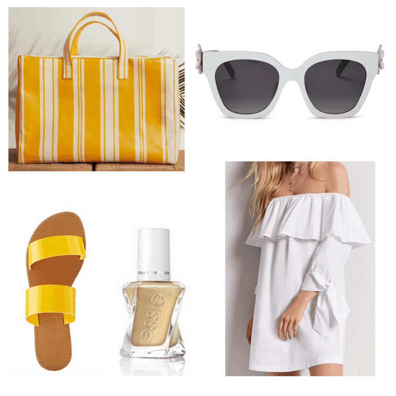 Yellow bag, sandals and nail polish, white dress and sunglasses.