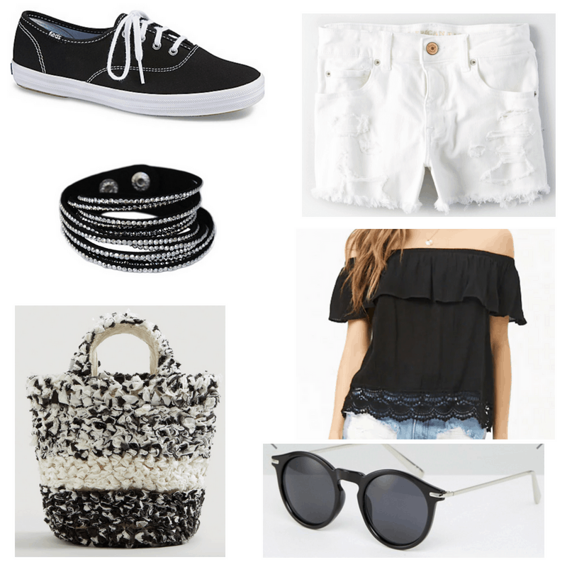 White shorts, black and white bag and sneakers, black top sunglasses and bracelet.