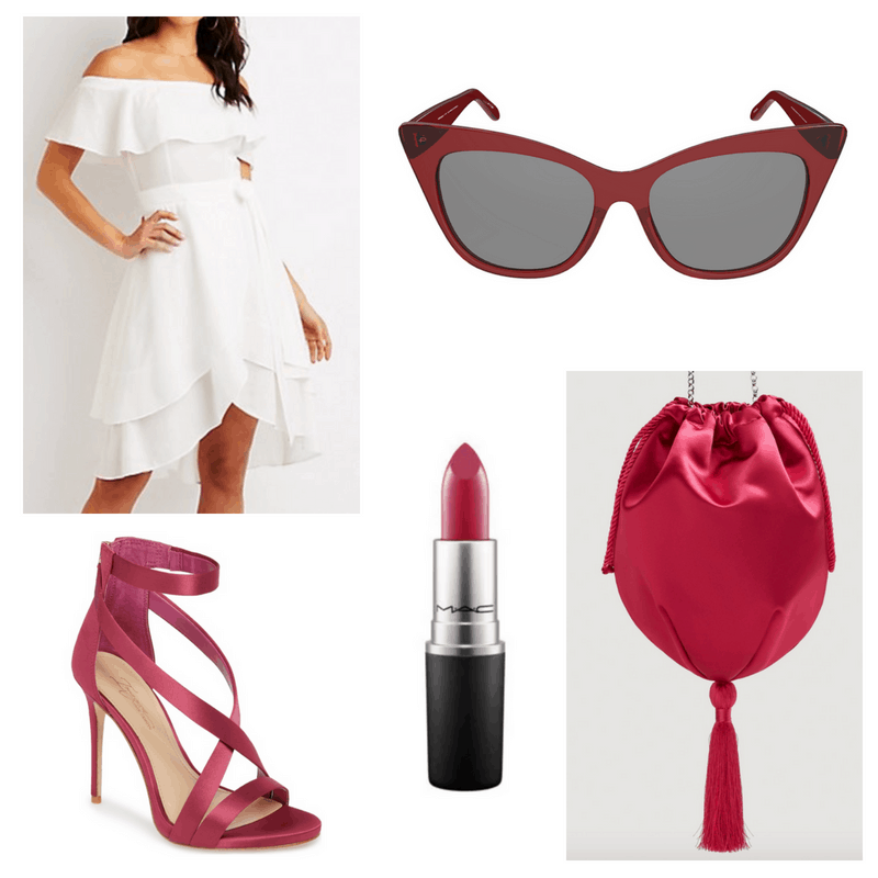 White dress, pink bag, heels, lipstick and sunglasses.