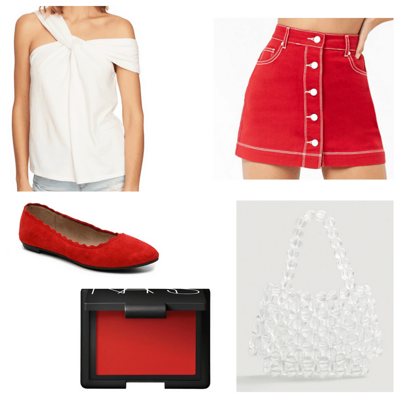 White top, transparent bag, red skirt, flats and blush.