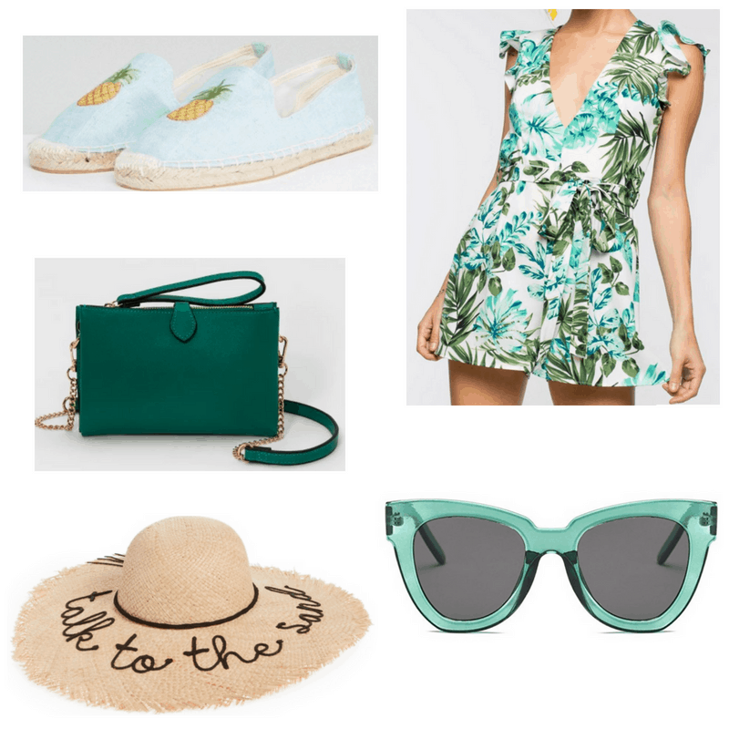 Green and blue romper, sunglasses, bag, espadrilles and straw hat.