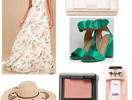 Maxi dress, straw hat, green heels, pink clutch, blush and perfume