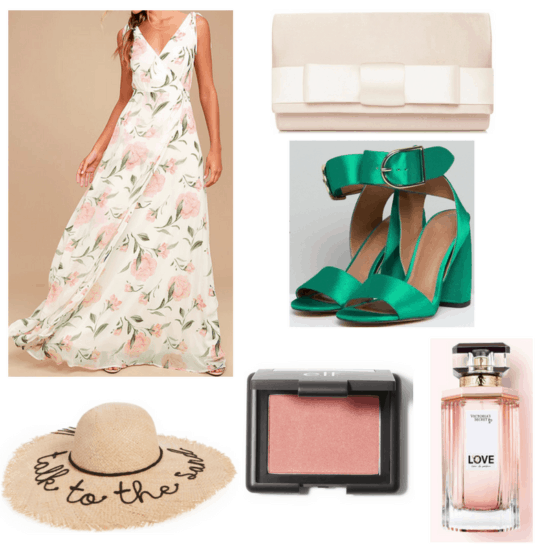 Maxi dress, straw hat, green heels, pink clutch, blush and perfume