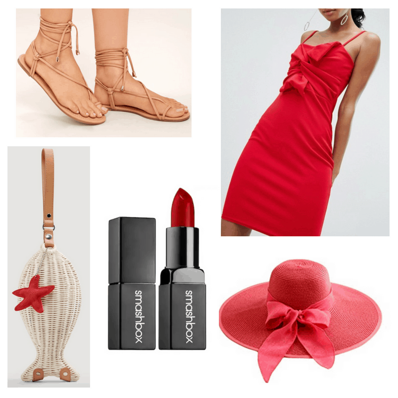 Red dress, hat, lipstick, nude bag and sandals.