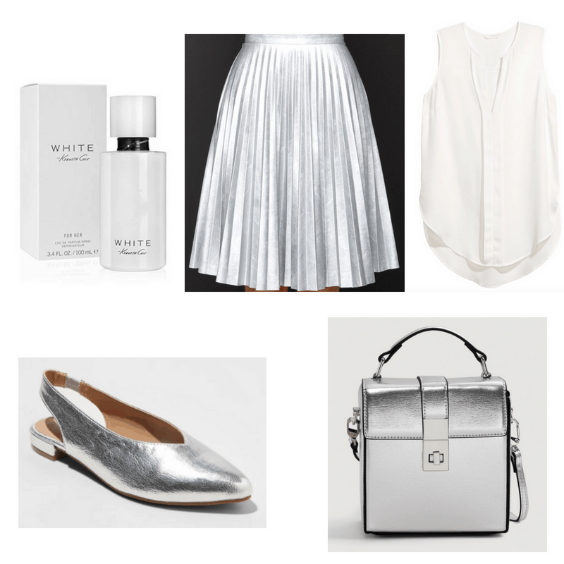 White top and perfume, silver bag, shoes and skirt.